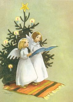 Vintage Angels Christmas Card by Martta Wendelin of Finland ~ Orange Rug
