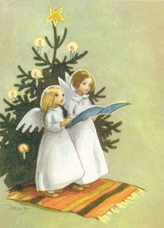 Vintage Angels Christmas Card by Martta Wendelin of Finland ~ Orange Rug
