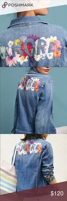 Look Patches, Fall Jackets, Jean Jackets, Embroidered Denim Jacket, Fashion Tips, Fashion Design, Fashion Trends, Front Button, Anthropologie