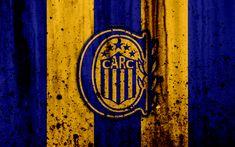 Download wallpapers 4k, FC Rosario Central, grunge, Superliga, soccer, Argentina, logo, Rosario Central, football club, stone texture, Rosario Central FC