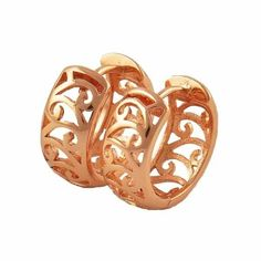 9K Rose gold filled, openwork hoop earrings, 16mm x 7mm @ AUD$12 + postage or local pick up available (3)