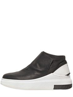CINZIA ARAIA - STRETCH NAPPA LEATHER MID TOP SNEAKERS - LUISAVIAROMA - LUXURY SHOPPING WORLDWIDE SHIPPING - FLORENCE