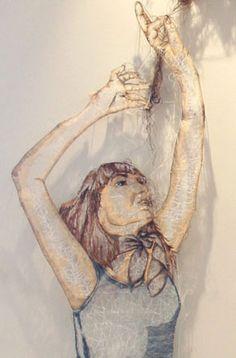 Untitled Woman (detail). Amanda McCavour. Thread Machine Embroidery, 2009