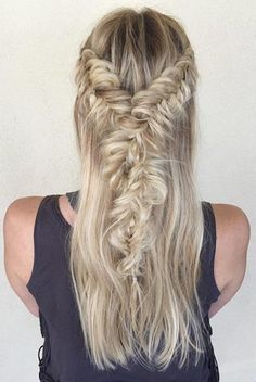 Messy & Twisted Fishtail Braids Half Updo