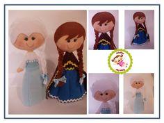 Elsa e Ana em feltro