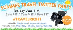 Don't miss our Summer Travel Twitter Party tonight! Over $1400 in giveaways from @Skip Hop @Joovy @Ergobaby Carriers @Britax! #TravelRight