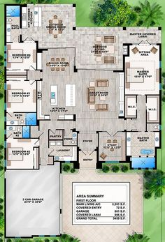 Great floor plan! No formal living or dining room. First floor living. Each bedroom has its own bathroom. Big showers!