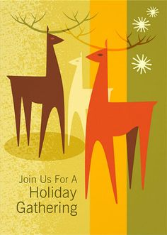 Modern Reindeer Holiday Party Invitations feature a mid century modern illustration of three graphic reindeer. A sophisticated invitation perfect for friends, family or corporate gatherings.