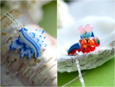 Handmade nudibranch and mantis shrimp necklaces from I Love Science Store