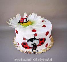 Ladybug cake by Mischell Fondant Cakes, Cupcake Cakes, Owl Cupcakes, Fruit Cakes, Ladybug Cakes, Painted Cakes, Cake Decorating Techniques, Creative Cakes, Creative Food