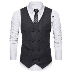 Wholesale V Neck Double Breasted Belt Design Waistcoat 2xl Black Online.  Cheap Double Breasted Coats f09fb43fde0