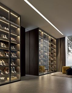 Oh my god..... the Shoes!!! this is a gorgeous closet... glass to display all your amazing shoes!!
