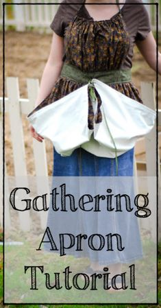 Sewing THIS IS SO PERFECT. Learn how to sew your own gathering apron to bring in the garden harvest (tutorial) - Learn how to sew a gathering apron! This tutorial is perfect for the gardener- tie up the bottom and bring in the gareden harvest! Sewing Hacks, Sewing Tutorials, Sewing Patterns, Sewing Tips, Apron Patterns, Sewing Crafts, Dress Patterns, Sewing Ideas, Craft Patterns