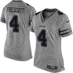 Nike Cowboys #4 Dak Prescott Gray Women's Stitched NFL Limited Gridiron Gray Jersey