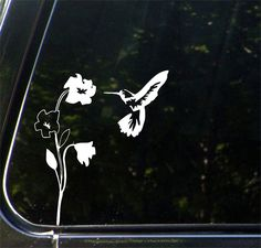 "CAR - Hummingbird and Flower - Vinyl Decal Sticker for Car | Truck | ATV | Appliance © 2016 YYDC (6.5""w x 8""h) (L or R) (WHITE)"