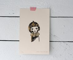 Acorn Girl Gocco Print Hand Tooled Gold Foil by mooshpie on Etsy, £8.00