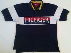 VTG 90's Tommy Hilfiger SAILING GEAR Polo Shirt Mens XL HIP HOP