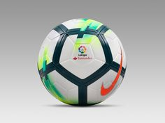 The new La Liga ball, which is produced by Nike, introduces an interesting combination of colors that includes green and orange. Soccer Gear, Soccer Boots, Soccer Equipment, Football Shoes, Football Kits, Nike Football, Soccer Ball, Bola Nike, Cr7 Messi