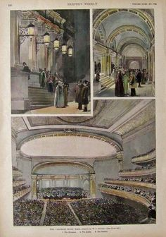 Entrance, the lobby and main interior of Carnegie Hall, New York City. Illustration by: W.P. Snyder. Appearing in Harper's Weekly, c.1891. ~ {cwl} ~ (Prints Old and Rare)
