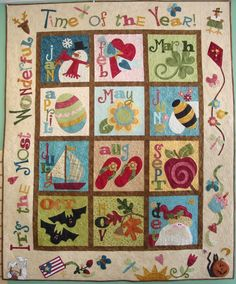 """FABRIC THERAPY block of the month quilt based on designs from Nancy Halvorsen's book """"Count on It"""""""