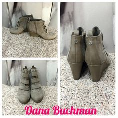 """On HoldDana Buchman Wedge booties Like New Dana Buchman Tan Wedge Booties with 3-Velcro Straps & Inside Zipper! These have only been worn once & are in near Perfect Condition! 3-1/2"""" Wedge Heel, 7"""" Total Height. Fabric & Man Made Materials Dana Buchman Shoes Ankle Boots & Booties"""