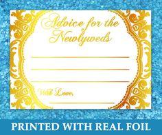Wedding Advice Cards Gold Foil Newlywed Advice by MomentidiVita  #goldfoilwedding #weddingstationery #advicecards