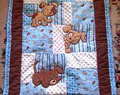 Cucciolo Baby Quilt Minky flanella coperta Patchwork flanella ragazzo posteriore coperta 35 x 46