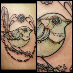 this is perfection! sparrow tattoo. I love the girly look. Would love with more realistic brown tones. Incorporates the rope of 3