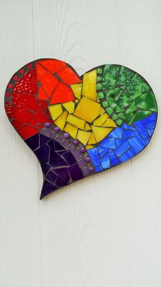 Rainbow Heart Mosaic Stained Glass Mosaic by CountryGooseBoutique Stained Glass Kits, Stained Glass Crafts, Mosaic Crafts, Mosaic Projects, Mosaic Tile Art, Mosaic Glass, Box Frame Art, Mosaic Garden, Rainbow Heart
