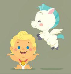 Pegasus & Baby Hercules Baby Disney Characters, Disney Films, Kawaii Disney, Cute Disney, Disney Magic, Disney Art, Pixar, Chibi, Disney Hercules