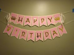 Pink and Gold Happy Birthday Banner Princess Banner Birthday Party by NovemberBanners on Etsy Disney Princess Birthday, Princess Party, Happy Birthday Banners, 1st Birthday Parties, Pink Gold Birthday, Name Banners, Gold Letters, Pink Stone, Vinyl Designs