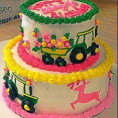 Pink John deer cake.