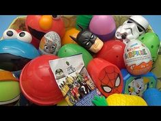 NEW Huge 101 Surprise Egg Opening Kinder Surprise Elmo Spider-Man Disney Frozen - YouTube