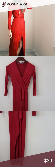 Tobi | red maxi dress | small In excellent condition! Beautiful Tobi maxi dress, size small. Im 5'9' and it was long enough for me to wear with flats! Elastic waist. Any signs of wear are shown in pictures :) bundle up! Offers always welcome:) Tobi Dresses