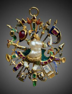 Warrior amidst trophy arms pendant, front view - Netherlands, 1590.