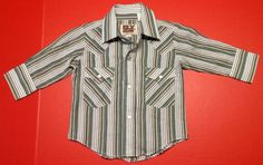 EUC Ely Cattleman Boys Western Striped Snap Button Long Sleeve Shirt Cowboy Sz 0 #ElyCattleman #Everyday