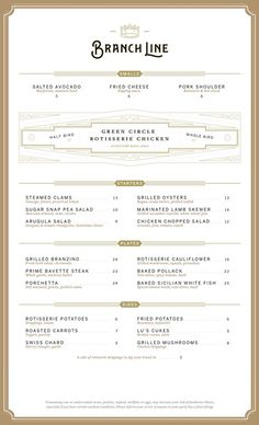 Branch Line Menu by Heart Creative Agency and Sean O'Connor | visual communication. graphic design. menu design. restaurant menu. layout. grid. hierarchy. typography.:
