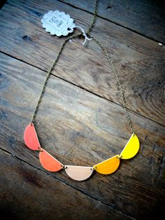 Scallop Bunting Necklace - Graduated Burnt Orange Beige and Yellow - Each To Own