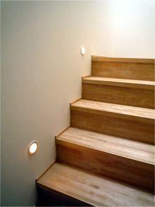階段フットライト +巾木は踏み板のみ。 Diy Furniture, Minimalism, Stairs, Lights, Architecture, Interior, Room, House, Lighting Ideas