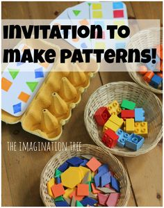 Making Patterns with Lego and Egg Cartons - The Imagination Tree.Great for home or preschool with 3 year olds to school age children as a fun way to learn about pattern making, sequencing and matching by colour and shape! Preschool Centers, Preschool At Home, Preschool Learning, Kindergarten Math, Toddler Activities, Preschool Activities, Preschool Plans, Elementary Math, Play Based Learning