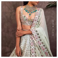 Blouse with broad straps Netted Blouse Designs, Blouse Designs High Neck, Simple Blouse Designs, Stylish Blouse Design, Bridal Blouse Designs, Lehenga Gown, Lehenga Blouse, Bollywood, Ritu Kumar