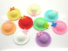 5 Pieces Bonnet Hats with Bows Cabochons - Kawaii Decoden Flatback Resin (TDK-C1289)