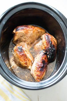 5 simple ingredients combine in juicy, succulent 5-Ingredient Slow Cooker  Garlic Balsamic Chicken, an effortless dinner recipe for any night of the  week.  I love giving behind-the-scenes glimpses into my daily life over on  Instagram stories, and the process gives me a chance to share ideas