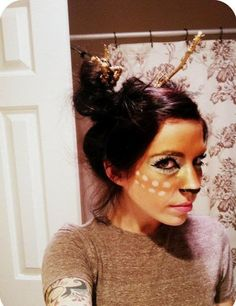 Deer and deer hunter haloween costumes | ... you can do this deer makeup. And all you need for antlers are sticks