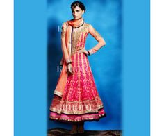 Orange Georgette Anarkali Suit.
