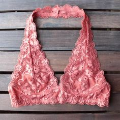intimate semi-sheer halter lace bralette (7 colors) - shophearts - 8