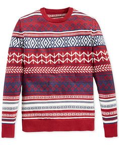 American Rag Fair Isle Crew-Neck Sweater - Sweaters - Men - Macy's