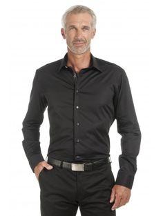 Chemise coupe cintrée en satin de coton noir
