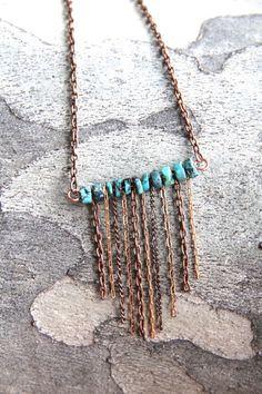 turquoise and copper fringe necklace от SarahSafaviJewelry на Etsy