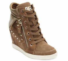 Guess Huxley Hitzo High Top Suede Wedge Sneaker Shoes Med Brown 10 M New $125